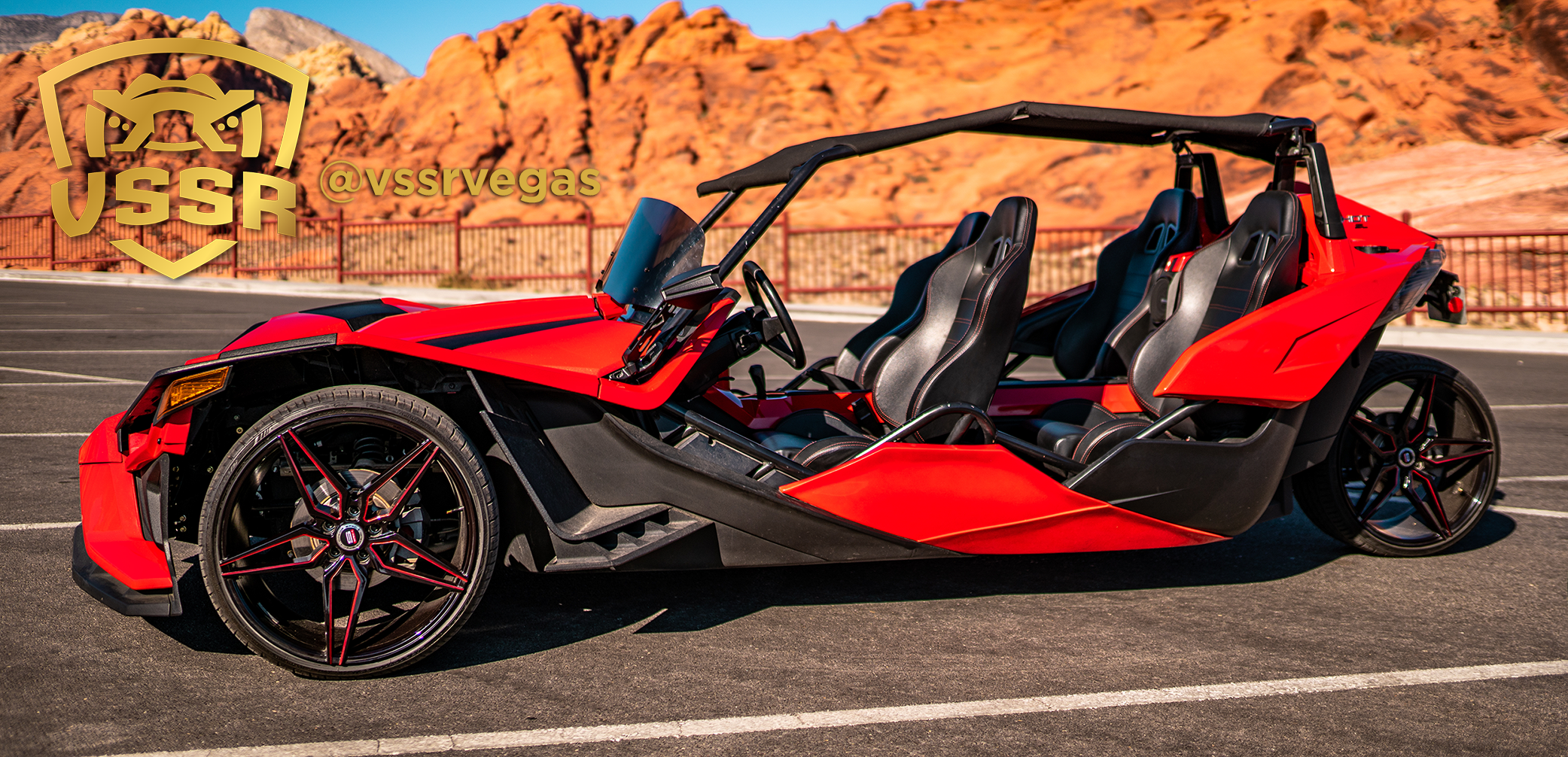 vssr 4 seater slingshot red rock no passengers with logo sideview